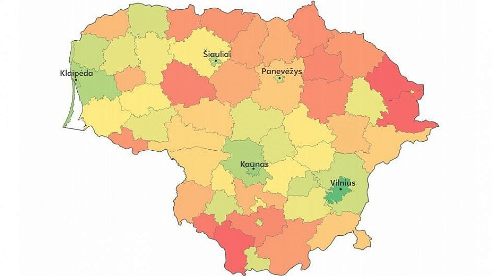 Pagal gerovės indeksą geriausiai Dzūkijoje sekasi Alytaus miestui, prasčiausiai – Lazdijų rajonui