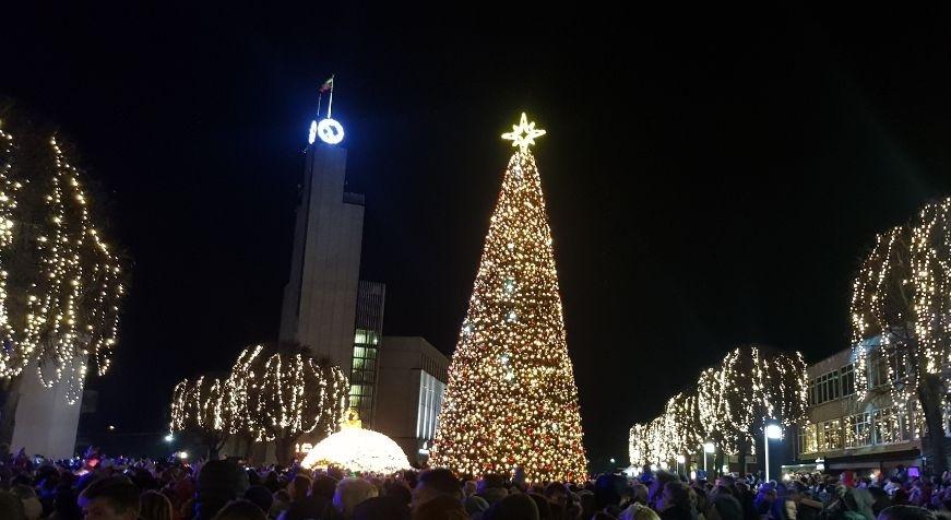 Alytuje tūkstančiais lempučių sužibo įspūdinga Kalėdų eglė – Dzūkijos veidas