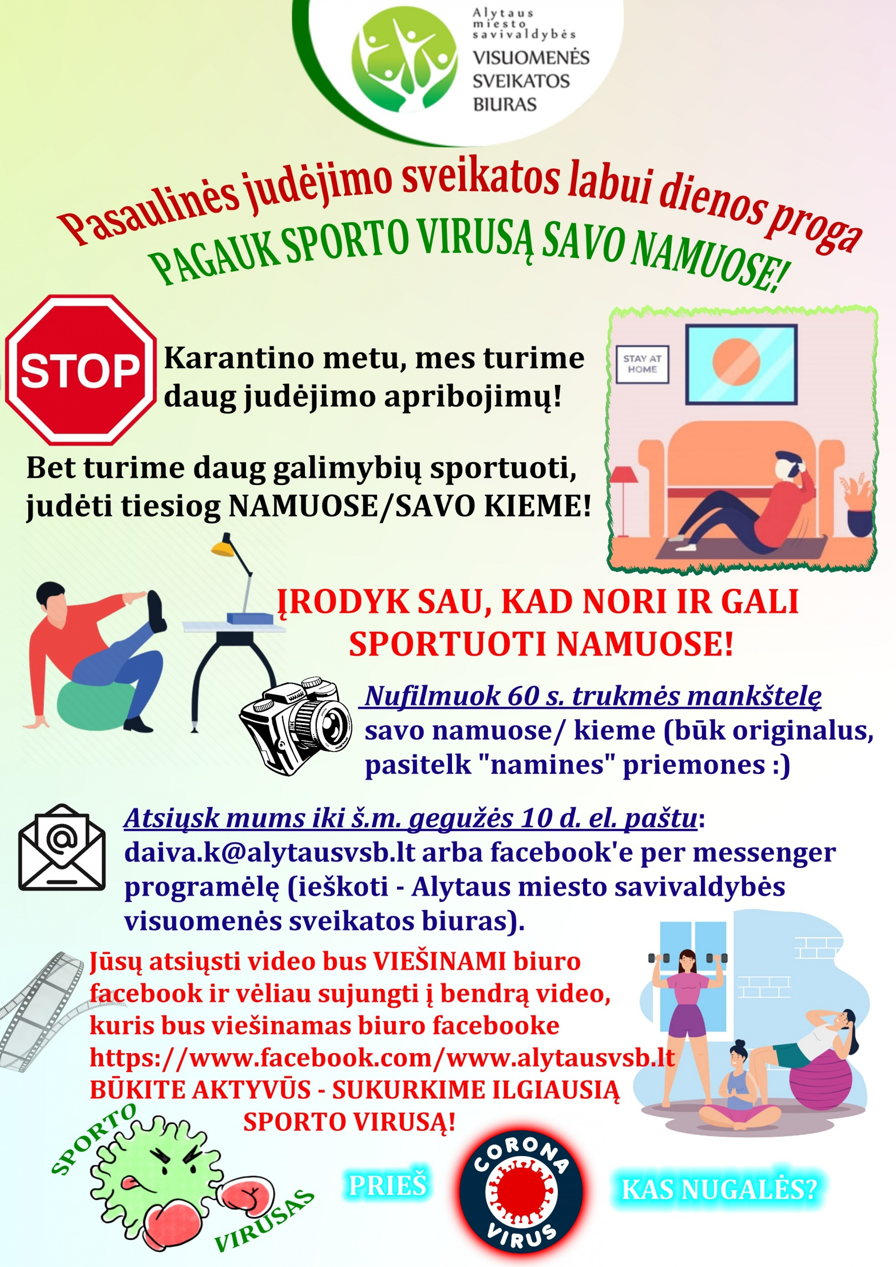 """Alytaus miesto savivaldybės visuomenės sveikatos biuras skleidžia """"Sporto virusą"""" 1"""