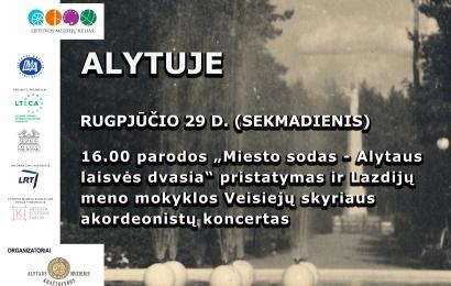Lietuvos muziejų kelio stotelė Alytaus miesto sode – jau sekmadienį